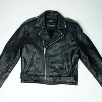 80s black leather cropped motorcycle jacket, Wilsons rocker moto biker jacket, Medium
