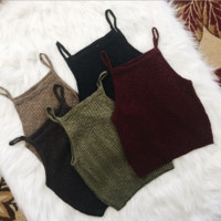 Strappy Knitted Crop Top B0014523
