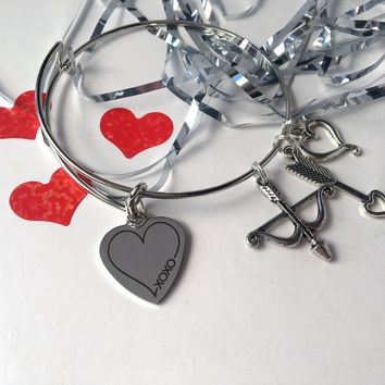 Valentine's Day heart themed charm bracelet, adjustable bangle
