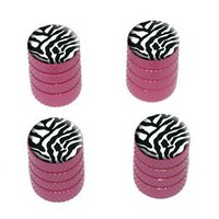 Zebra Print - Tire Rim Wheel Valve Stem Caps - Pink