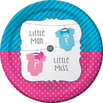 Little Man, Little Miss Gender Reveal Lunch Plates 8ct