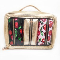 Rose Gold Cherries 4 Piece Cosmetic Bag Set