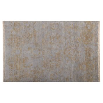 Abstract Light Blue & Gold Color Modern Hand Knotted  Woolen Area Rug