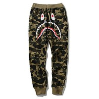 BAPE AAPE Popular Women Men Leisure Camouflage Shark Mouth Print Sport Pants Trousers Sweatpants Green
