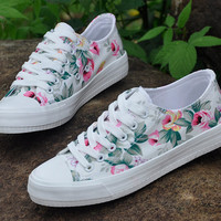 Women's Floral Print Students Lace-up Sneakers Canvas Shoes