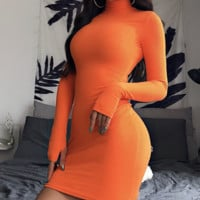 Sexy semi-high collar long sleeve high neck wrap dress