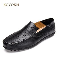 Men Shoes Classic Breathable Summer Genuine Leather Driving Soft Casual Man Loafers mens Moccasins men's flats chaussure homm
