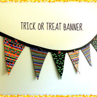 Halloween  Banner,  Party Bunting, Trick or Treat Garland