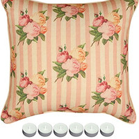 """Manual Woodworkers SLYCFS Yorkshire Cottage Floral Stripe Pillow 18""""x18"""" with 6-Pack of Tea Candles"""