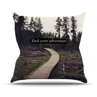 "Leah Flores ""Find Your Adventure"" Nature Quote Throw Pillow"