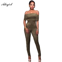 Adogirl Rompers Womens Jumpsuit Sexy Faux Suede Off The Shoulder Long Pants Bodycon Elegant Jumpsuits Monos Largos de Mujer