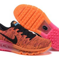 """Nike Air Max Flyknit"" Unisex Sport Casual Rainbow Flywire Weave Air Cushion Sneakers Couple Running Shoes"