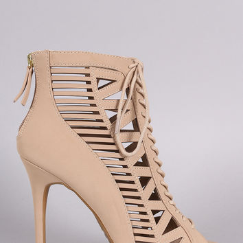 Anne Michelle Nubuck Caged Lace Up Peep Toe Booties