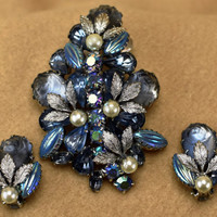 Mid Century Demi Blue Rhinestones & Molded Glass with Silver Leaves Sparkling Blue Rhinestone and Molded Glass Brooch and Earrings for Her