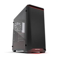 """Phanteks PH-EC416PTG_BR Eclipse P400 Steel ATX Mid Tower Case Black/Red, """"Tempered Glass"""" Edition Cases"""