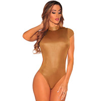 Top Turtleneck Black Pu Leather Bodysuit Sexy Hollow Out Backless Short Sleeve  Bodycon Jumpsuit SM6