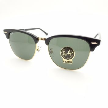 Ray Ban Clubmaster 3016 F 55mm W0365 Black Gold New Sunglasses Authentic