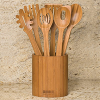 Seville Classics 7-Piece Bamboo Kitchen Utensil Set with Caddy