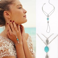 Turquoise Drop Silver Plated Hand Chain