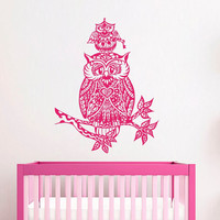 Owl Wall Decals For Kids Decal Owl on Tree Branch Nursery Stickers Home Bedroom Art Decor T181