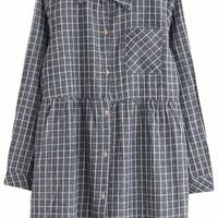 Plaid Single Pocket Long Sleeve Mini Dress