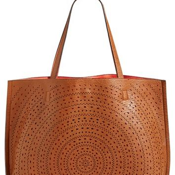 Junior Women's Street Level Laser Cut Reversible Faux Leather Tote