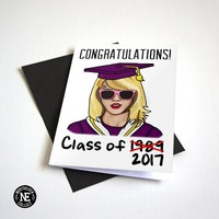 Congratulations Class of 1989 - Graduation Hat Cap - Highschool or College Graduation Card A6
