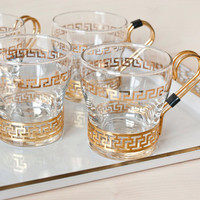 Libbey Continental Cups Greek Key Brass Holder Hot or Cold Coffee Cups Glass Tumblers