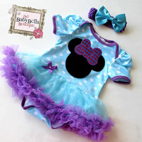 Minnie mouse inspired blue and purple  polka dots tutu, baby girl bodysuit tutu skirt  ,Baby Girl romper.