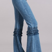 Mia Boho Blue Bell Bottom Pants