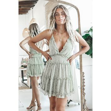 Mind Over Matter Pistachio V Neck Dress