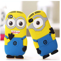 Fashional new arrival cute cartoon model silicon material Despicable Me Yellow Minion Cover Case foriphone 5 5S 5C-free shipping