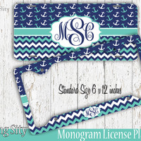 Teal Navy Anchor Chevron Monogram License Plate Frame Holder Metal Wall Sign Tags Personalized Custom Vanity Plate