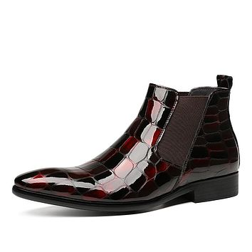 Wine Red Black Snakeskin Patent leather Slip on Boots