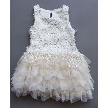 Microbe by Miss Grant Couture - Baby Girls Gold Embroidered Tulle Dress