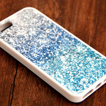 Free Shipping Blue Glitter iPhone 6 Plus iPhone 6 iPhone 5S iPhone 5C iPhone 5 iPhone 4S/4 Rubber Case