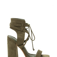 Featured Model Faux Suede Chunky Heels