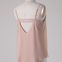 Strappy Back Sleeveless Cut Out Flowy Tank - Almond