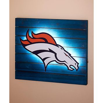Official Licensed NFL Fan LED Light Up Wood Pallet Logo Wall Art Man Cave Gift Idea