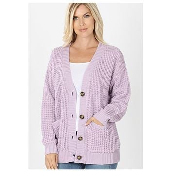 Cozy Cute Waffle Knit Dusty Lilac Sweater Cardigan with Buttons