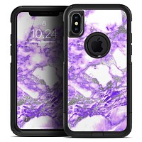 Purple Marble & Digital Silver Foil V9 - Skin Kit for the iPhone OtterBox Cases