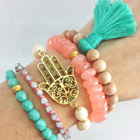 Boho Beachy Bracelet Stack in Mint and Coral