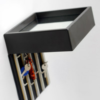 Vintage Hallway Square Mirror with Hidden Hooks for keys // Made in Germany // Space Age Small Plastic Wall Hanging Mirror - 60s 70s