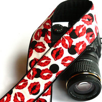 dSLR Camera Strap. Lips Camera Strap. Black White Red Camera Strap