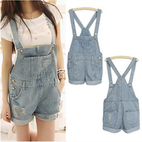 EAS 2016 Fashion Girl Denim Rompers Strap Pockets Frayed Ripped Holes Overalls Rompers Womens Jumpsuit Shorts Jeans Light Blue