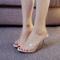 Sexy Shoes Gladiator Women Pumps Perspex Platform High Heels PVC Clear Crystal