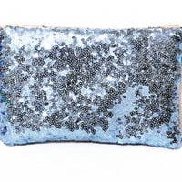 Light Blue Sequin Clutch-Personalized Bridesmaid Clutch-Bridesmaid Makeup Bag Gift-Blue Sequin Clutch Purse-Customized Blue Makeup Bag