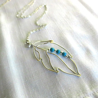 Silver Leaf Necklace with Turquoise Magnesite, Chain Included 34 inch, Layering, Minimalist, Delicate, Organic, Handmade, Gift Idea for Her