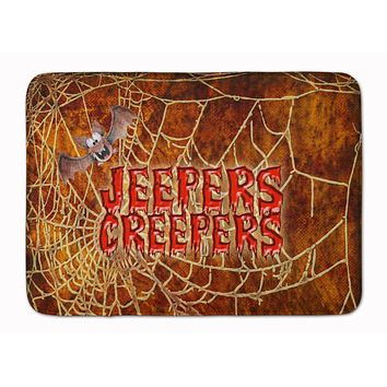 Jeepers Creepers with Bat and Spider web Halloween Machine Washable Memory Foam Mat SB3018RUG