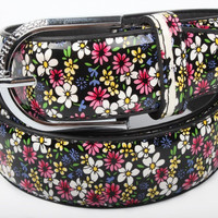 Free Shipping 2015 New Fashionable Women Black Colorful Floral Flower Print Waist Belts For Ladies Girls